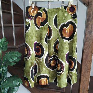 🌼 Premise Paneled Skirt Green Linen Blend A-Line